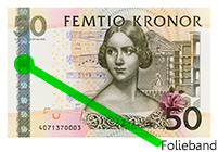 50-kronor banknote with foil band