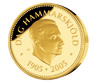 Photograph of a 2,000-kronor commemorative coin in gold, to celebrate the 100th anniversary of the birth of Dag Hammarskjöld