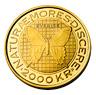 Fotografi av ett 2000-kronors minnesmynt i guld, frånsida, Carl von Linné 300 år